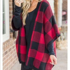 Sweaters - NWT Black and red plaid poncho